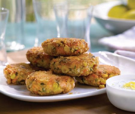 Salmon Cakes With Lemon-Caper Yogurt Sauce Recipe
