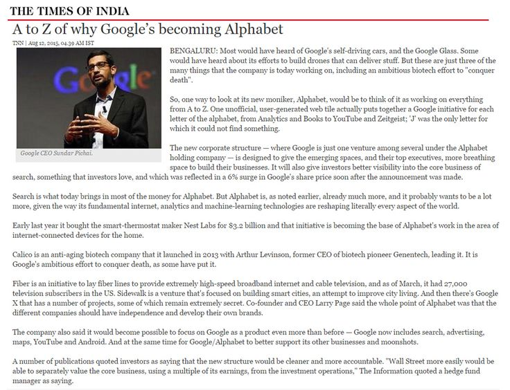 The Real Reasons #Google Will Become #Alphabet