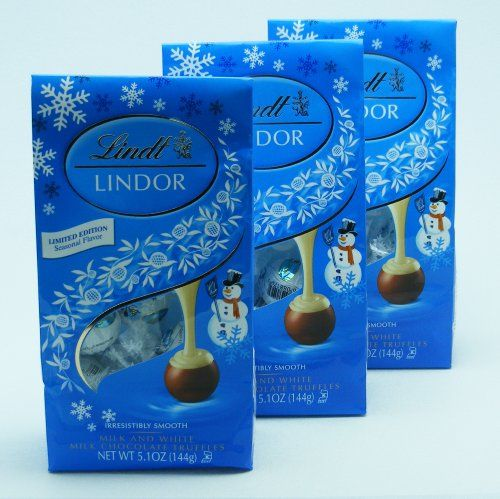 Lindt Lindor Snowman Truffles Milk and White Chocolate Limited Edition 5.1 oz Package, Pack of 3
