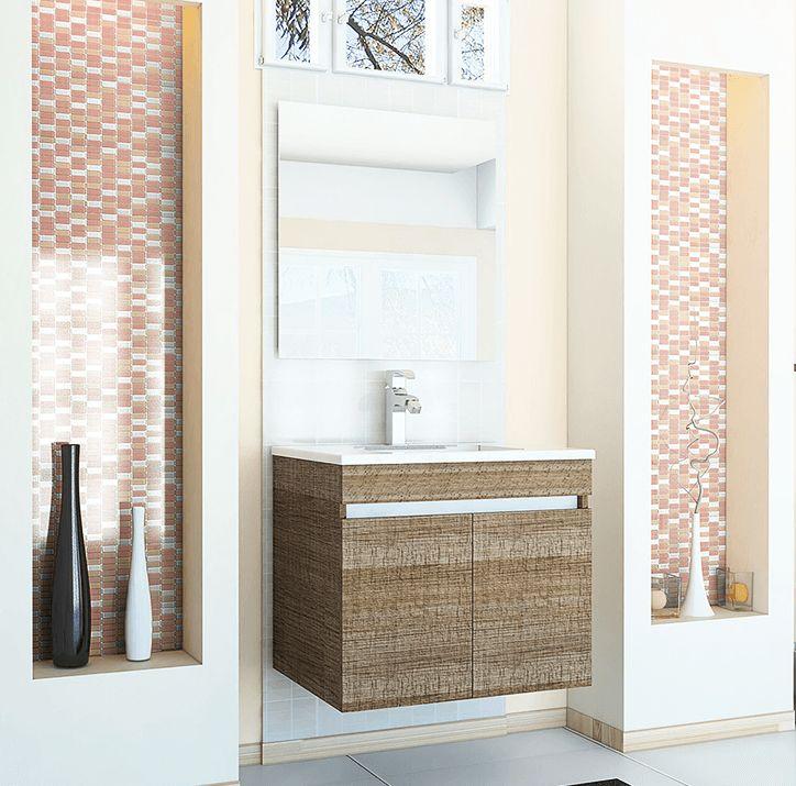 Baños Modernos Homecenter:Los muebles vanitorios acoplados a la pared le darán un look moderno