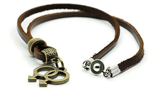 BrownBeans Retro Gay Symbol LGBT Pride Leather Necklace LNKT1080 18 Inches >>> More info could be found at the image url.