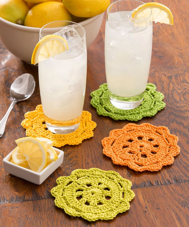 Citrus-inspired coasters are perfect for your next picnic. Crochet them in a soft cotton yarn to keep your table dry.