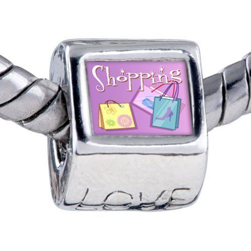 Pugster Bead Multicolor Shopping Bag Photo Love European Charm Bead Fits Pandora Bracelet Pugster. $12.49. Bracelet sold separately. Fit Pandora, Biagi, and Chamilia Charm Bead Bracelets. Unthreaded European story bracelet design. It's the photo on the love charm. Hole size is approximately 4.8 to 5mm