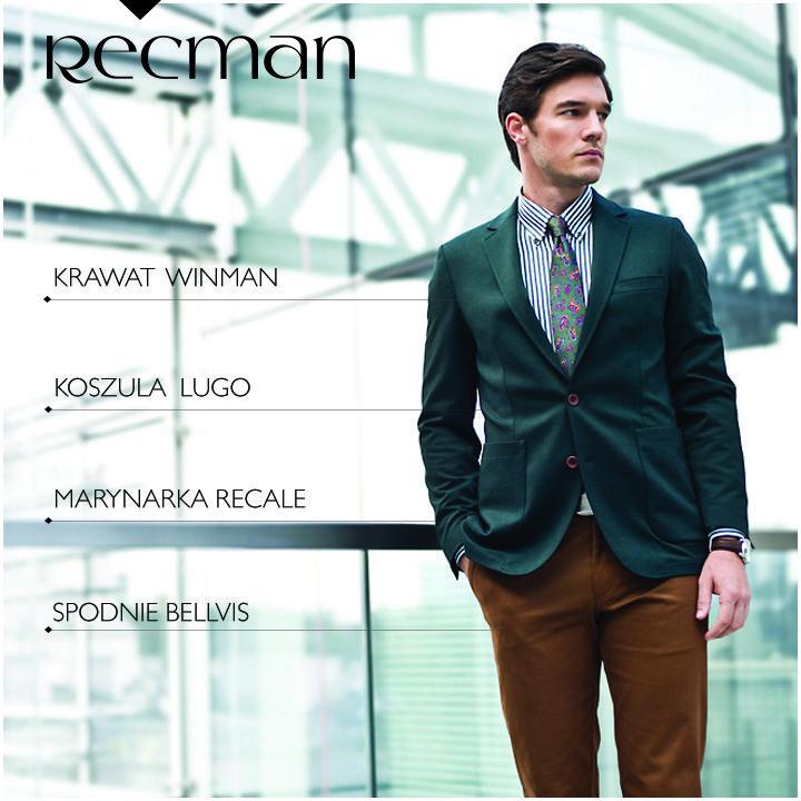Propozycja Stylistów Recman na dziś to zielona marynarka Recale oraz spodnie Bellvis w kolorze kamelowym. Całość uzupełniamy koszulą Lugo w zielone paski i stylowym krawatem Wiman. Jak Wam się podoba takie zestawienie? bit.ly/Recman_Recale_Zielony bit.ly/Recman_Bellvis_Kamel bit.ly/Recman_LugoZielony bit.ly/Recman_Krawaty