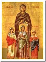 Eliana Hope's name saint - St. Sophia and her three daughters Faith, Hope, and Love