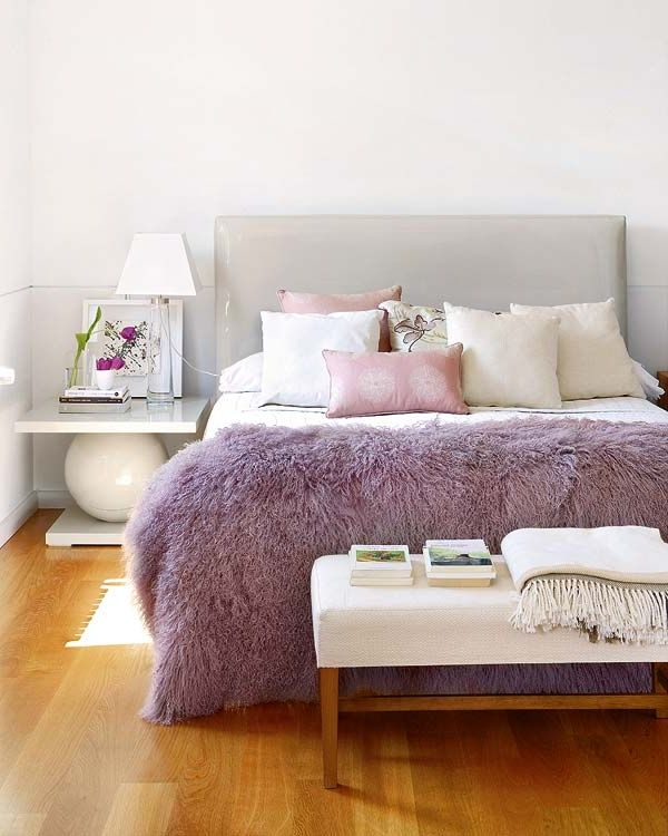 Grey Feminine Bedroom - love the throw