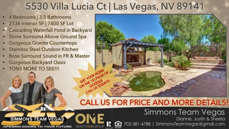 http://ift.tt/2j3727T Single Story 4 Bedroom 3 Bath Home in Southern Highlands - Call or Text Simmons Team Vegas  702-381-4788 or email SimmonsTeamVegas@gmail.com - Single Story 4 bedroom 3 bath home located in a gated community at the heart of Southern Highlands. This gorgeous home offers an amazing backyard oasis with stone facade built-in spa  custom Stainless Steel Appliance outdoor kitchen and cascading waterfall pond. The open concept 2 349SF /- floor plan is perfect for entertaining…