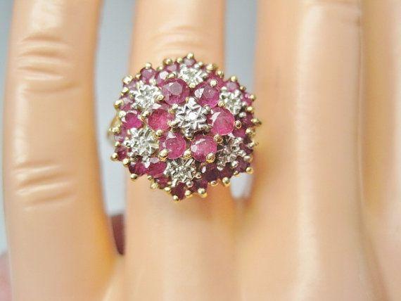Cluster vintage diamante rubino anello Sz 8 di BejeweledEmporium, $225.00
