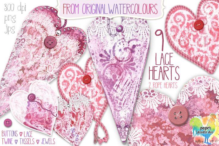 Valentine Clip Art - Lace Hearts Design Set at Paper Doodle Doo