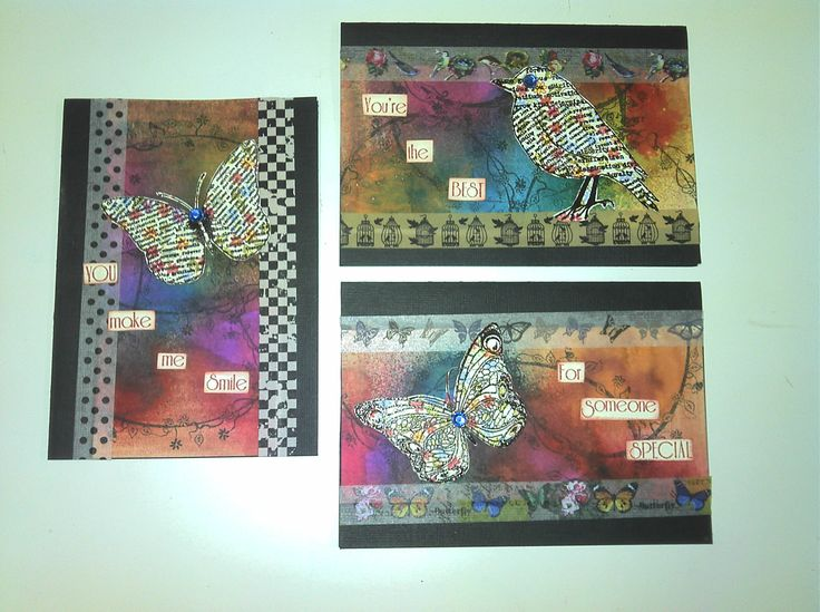 Card using Dylusions spray inks, stamping and washi tape