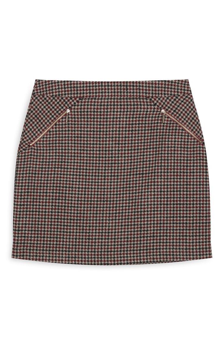 Check Zip Mini Skirt