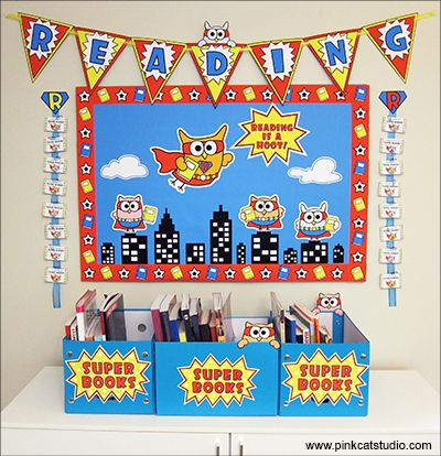 This fun Superhero Owls theme reading bulletin board set will encourage your students to become Super Readers! This set has everything you need to create this board including cut-out characters, borders, bunting, incentive cards, rewards, book bin labels and more! By Pink Cat Studio