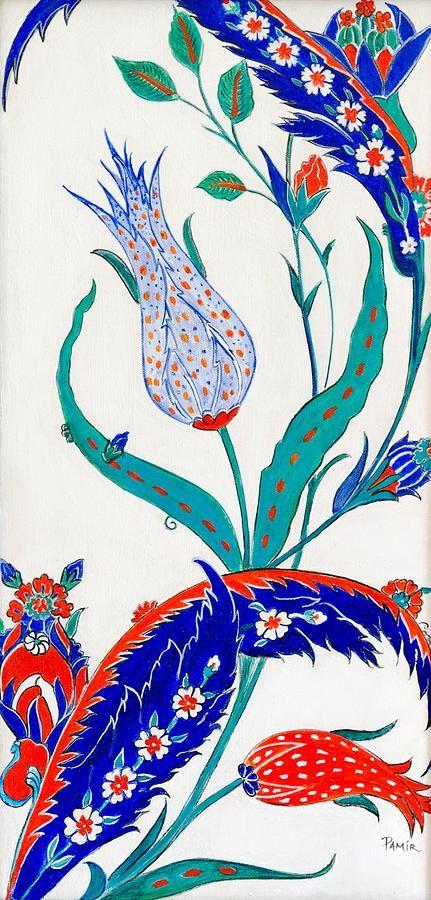 Blue And Orange Tulip Painting