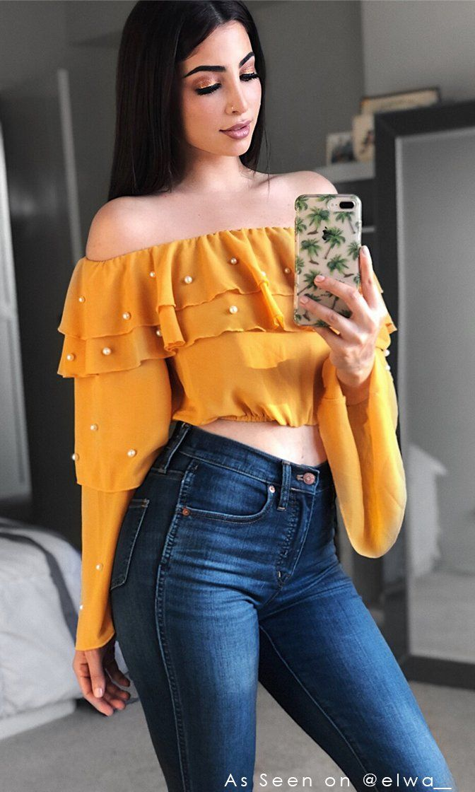 d5ccc48c258e5 Real Love Yellow Long Bell Sleeve Tiered Off The Shoulder Pearl Crop Top  Blouse