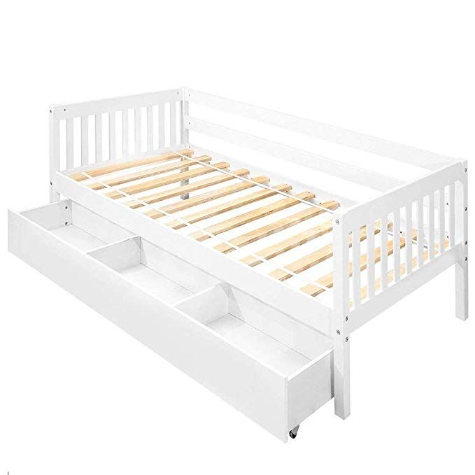 Daybed Frame Twin W Storage Drawers Julyfox Bed Frame Wood 400lb Heavy Duty With Oxford Headboard Twin Bed Frame Bed Frame With Storage Bed Frame And Headboard