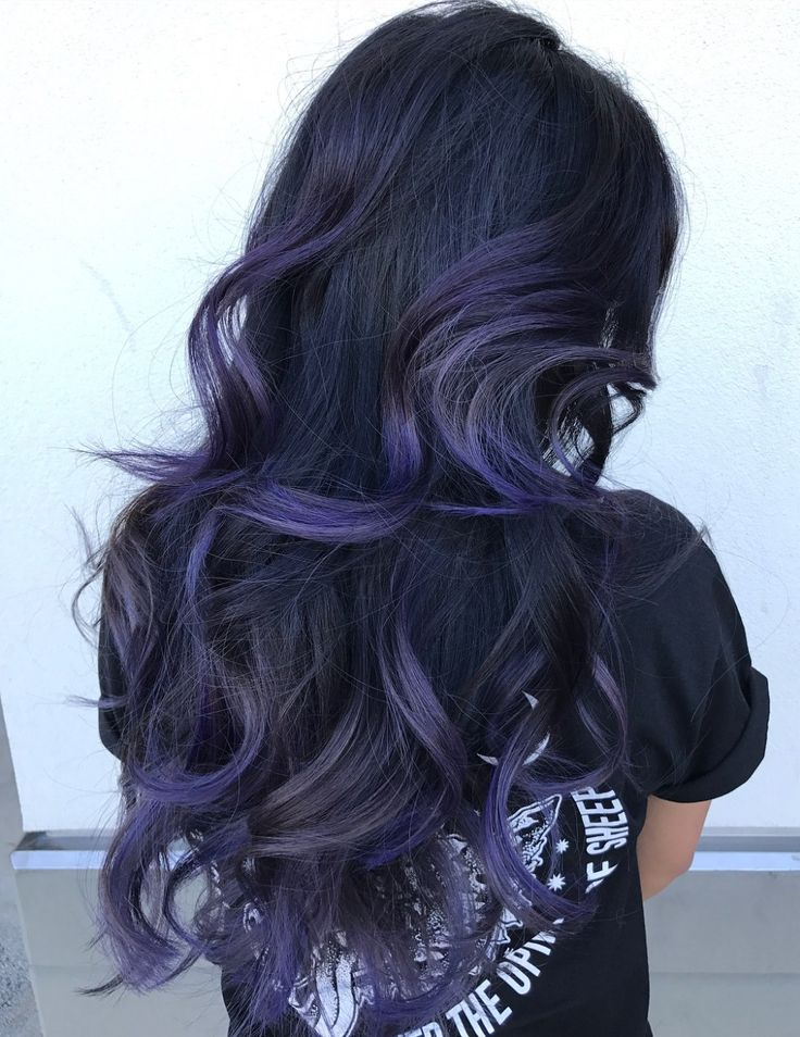 Purple Blue Balayage For Black Hair