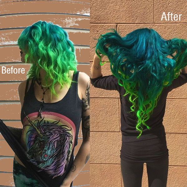 Neon green hair extensions vpfashion