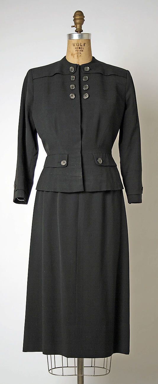 Suit c.1948 by Gilbert Adrian | wool, plastic, rayon