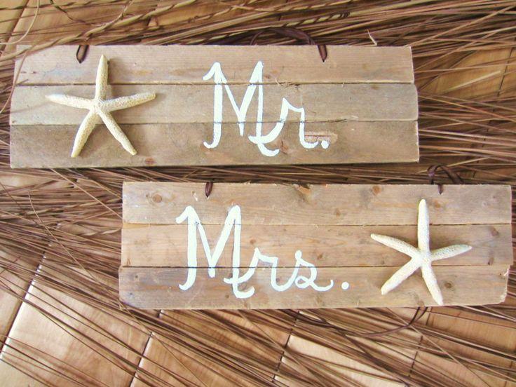 Reclaimed Beach Wood - Rustic Beach Wedding-Starfish Mr. and Mrs. Signs. $58.00, via Etsy.
