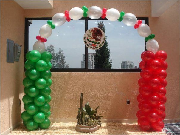 Arco con globos noche mexicana decoraciones con globos for Decoracion con globos