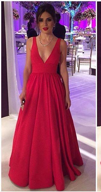 Red Prom Dress,V-neck Red Graduation Dress,Red Party Dress,A-line Evening Dress,Red V-neck Formal Dresses