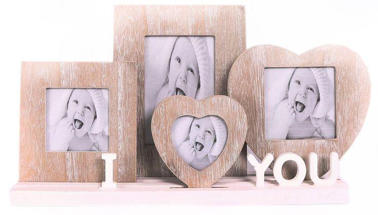 Rustikale hölzerne ich liebe dich Herz-Foto-Bilderrahmen auf Behälter-Unterseite