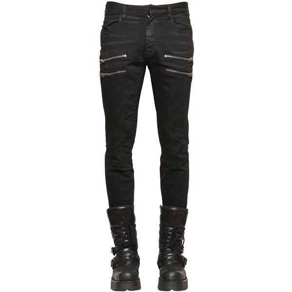 Faith Connexion Men 16cm Zip Coated Denim Biker Jeans ($820) ❤ liked on Polyvore featuring men's fashion, men's clothing, men's jeans, black, mens biker jeans, mens skinny jeans, mens super skinny jeans, mens skinny fit jeans and mens jeans