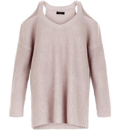 Mid Pink Ribbed Cold Shoulder Jumper  | New Look