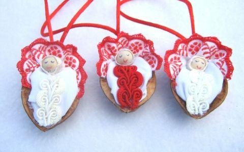 Dióbaba dió-textil karácsonyfadíszek, Dekoráció, Karácsonyi, adventi apróságok, Karácsonyfadísz, Karácsonyi dekoráció, Meska