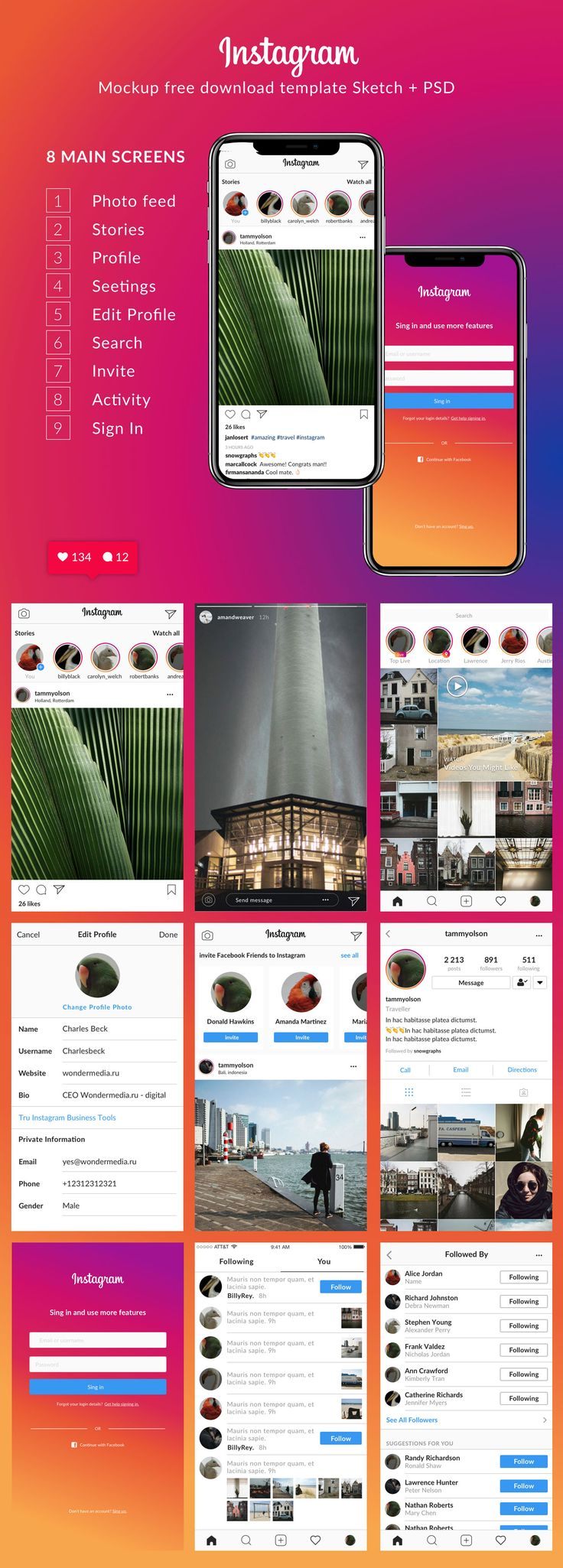 FREE DOWNLOAD | Instagram template PSD and Sketch mockup, template, UI/UX  I didn't find the current Instagram mockup. So I decided to do it myself. And also i needed PSD and Sketch versions. Inside PSD + Sketch versions.  If it instagram mockup was helpful to you, I would appreciate for like.   If you don't find any layout, write in the comments, I'll make it and send the update.  Used font: Lato (Google Fonts)