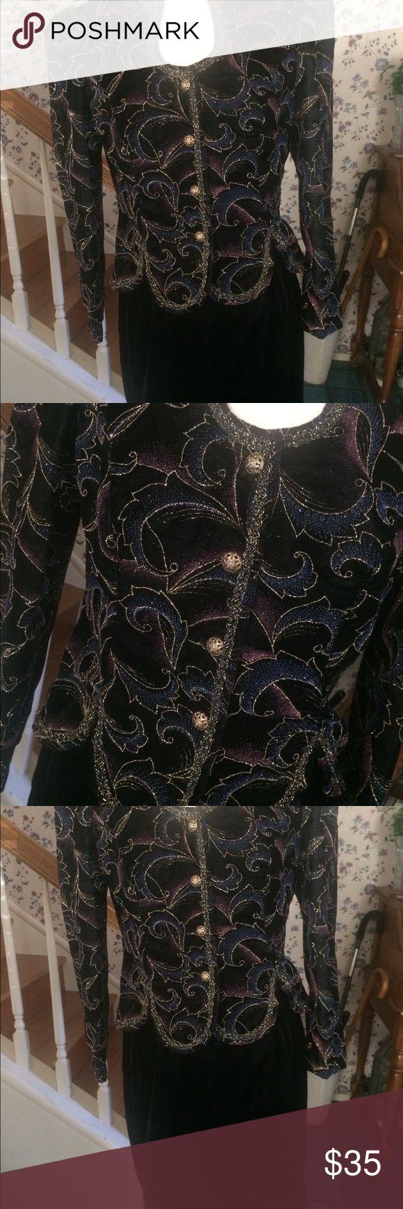 Vintages Cachet Two piece velvet skirt set Cachet petite two piece skirt set velvet trim gold  size 12 stunning cachet Other