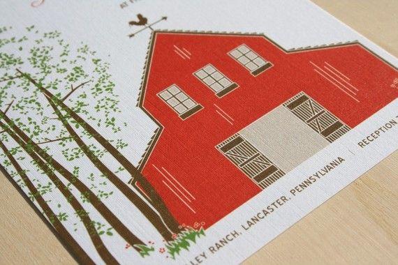 SAMPLE Red Barn Wedding Invitation by vohandmade on Etsy, $3.00