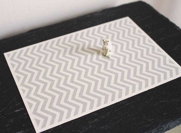 Dolls House Miniature Grey Chevron Rug by Artistique on Etsy