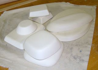 Cinderelish: plaster molds from thrift store dishes - could be used to create slump molds for glass