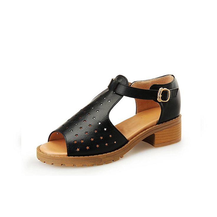 Women's Platform Casual Leisure Hole Med Heel Sandals Hole Shoes Sandalias De Plataforma Peep Toe Ankle Sandals WHZQS 0138