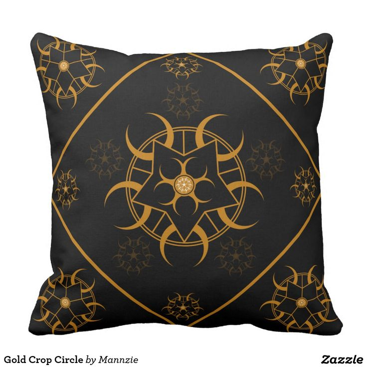 Gold Crop Circle Outdoor Pillow