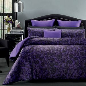 Purple reigns with the beautiful printed lace design of 'Montpellier'.  It's silky soft and luxurious with a purple reverse side.   A purple satin euro and decorator offset the look.  Available in Queen, King and Super King sizes #purplelovers #lacelook