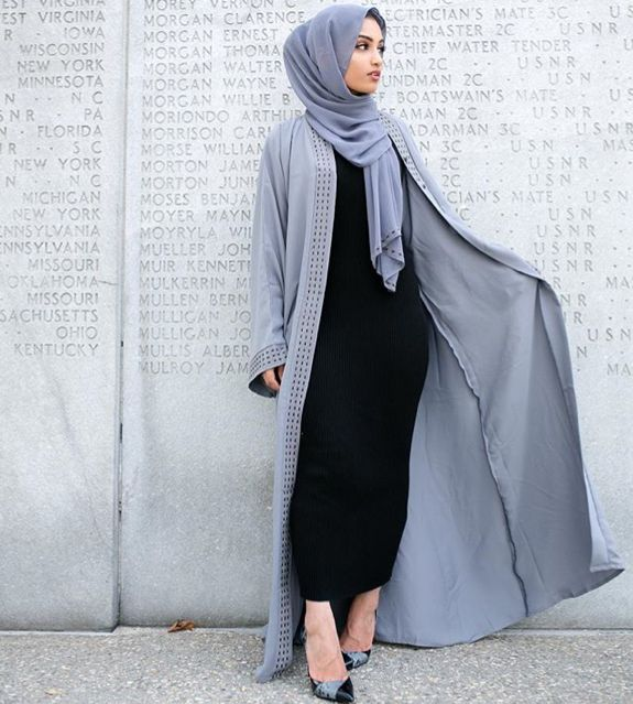 Pinterest: @eighthhorcruxx. Black abaya and powder blue open abaya and hijab. Hajra_aaa