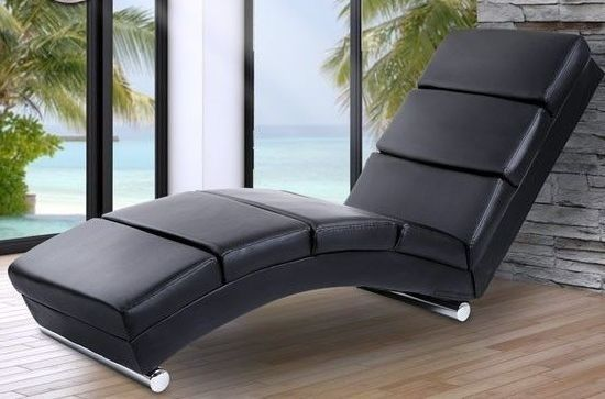 Black Sofa Lounger Home Spa Hotel Leather Modern Furniture Chaise Chair Room