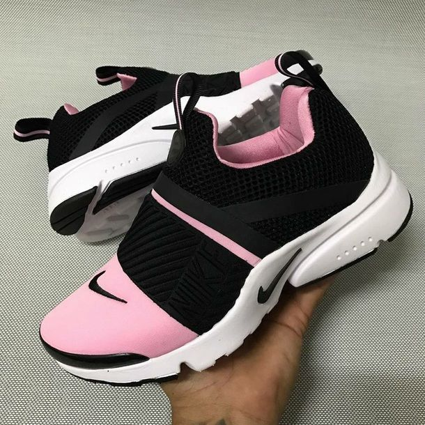 shoes, nikes, sneakers, black, pink