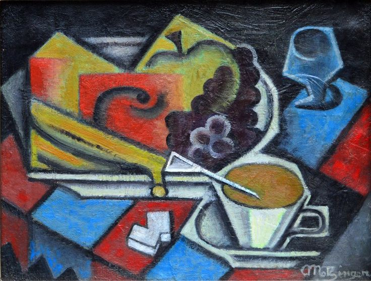 Jean Metzinger (1883-1956) - Fruit Plate and White Cup on Checkered Tablecloth…
