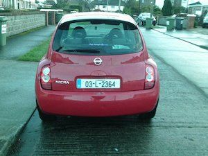 Nissan micra for sale in excellent contdion for the year 03 irish car cheep to insure fully serviced 4 new tyres and battery just fitted comes with new nct and taxed ew cl ac cd player has Bluetooth top speck model new clutch fitted September 2017 all service books lovely car to drive price 1100 ono goatstown Dublin 14