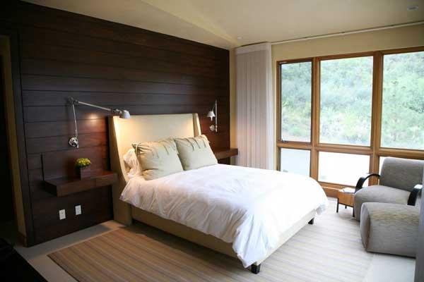 : Bedrooms Design, Bedrooms Interiors Design, Dark Wood, Master Bedrooms, Wood Wall, Dark Wall, Wood Panels, Modern Bedrooms, Beautiful Bedrooms