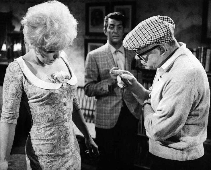 "Director Billy Wilder with Kim Novak & Dean Martin on set of ""Kiss Me, Stupid"" (1964)."