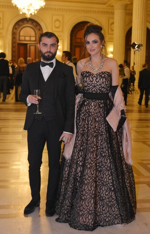 Arthur Dinu and his muse, wearing a special designed Marie Ollie gown www.marieollie.com