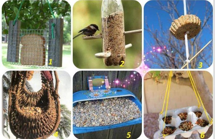 mangeoire oiseaux artisanale en différents objets de récup