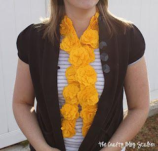 Yellow Felt Flower Scarf tutorial