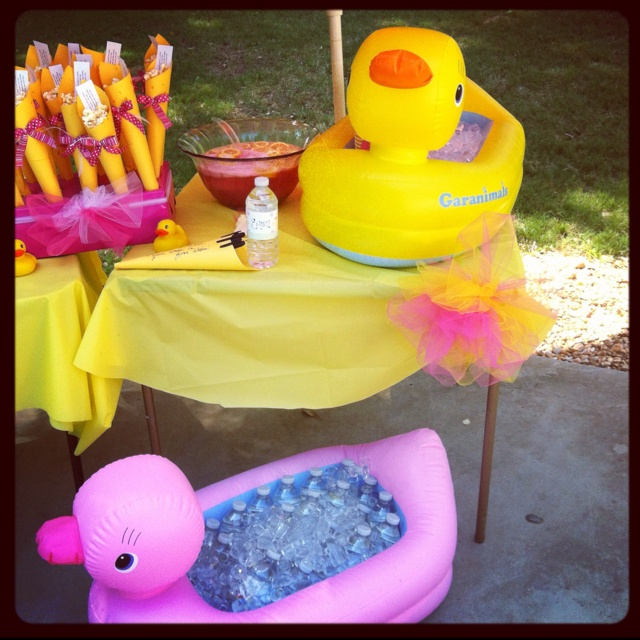 Pink Yellow Purple Baby Shower Part - 18: Rubber Duck Baby Shower! Duck Baths Work Great As A Cooler Then A Gift For