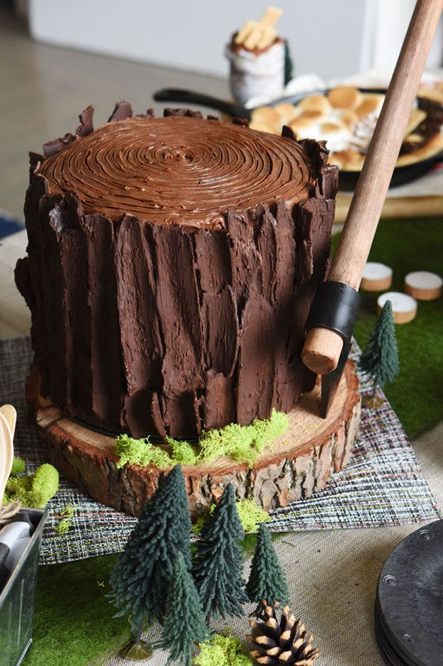 "This tree stump cake for a lumber jack themed ""bro-dal party."" 