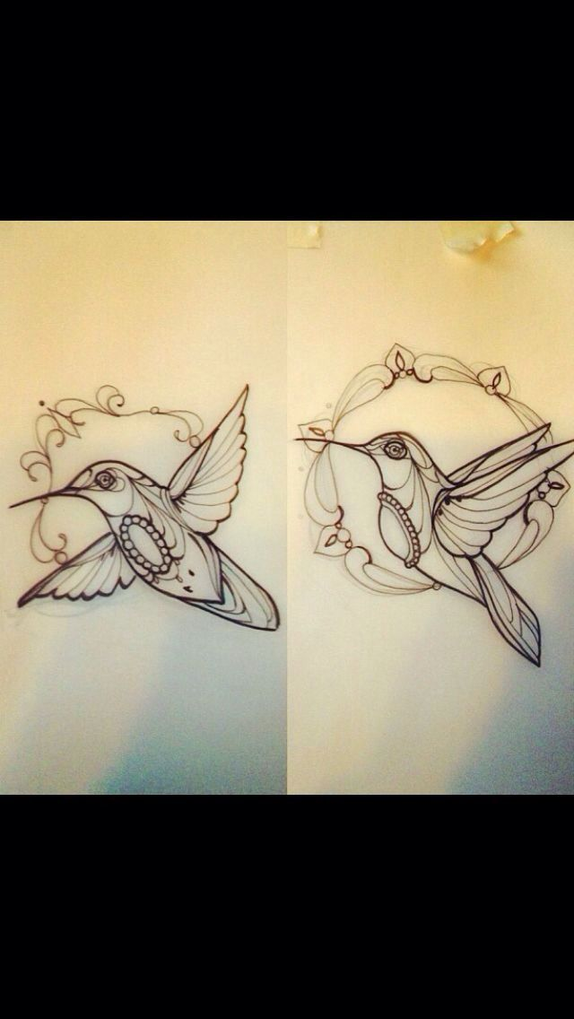 Hummingbird outlines. Perfect for my thigh tattoo!